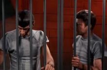 Spock and McCoy in a jail cell